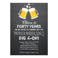 40th Birthday Invitation Beer