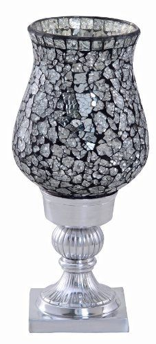 £14.99 Mosaic Glass Large Candle Holder Black Silver.