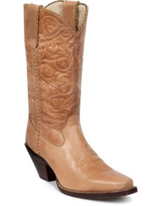 """Crush Softly Understated Boots - Tan  $144.99  Crush by Durango shouts fashion boots for big city taste with a country swing. This urban cowgirl boot features a tan burnished leather foot under an 11"""" floral embossed matching leather shaft. Tan and brown twisted piping accents. Snip toe profile. 2"""" cowgirl heel with rubber grip surface."""