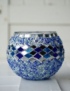 Blue Mosaic Candle Holder The Dancing Pixie We love lighting these little gems and moving them around the house Use them for dinner on a coffee table next to the bath or even around the pool Mosaic Flower Pots, Mosaic Pots, Blue Mosaic, Mosaic Garden, Mosaic Glass, Glass Art, Pebble Mosaic, Small Candle Holders, Small Candles