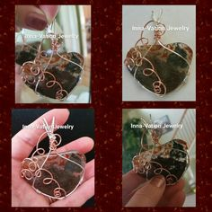 #Wire #wrapped #gorgeous #agate #slider #pendant, #silver-plated #copper and #copper #wire  M.inselly.com/inna_vation_jewelry