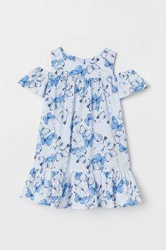 Kids Girls Flouncing Cold Shoulder Cactus Print T-shirt+Denim Ripped Shorts NEW