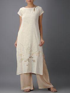 beige print o neck cotton linen side open long dress Linen Dresses, Cotton Dresses, Casual Dresses, Summer Dresses, Indian Fashion, Boho Fashion, Fashion Dresses, Womens Fashion, Mode Kimono