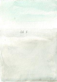 Original watercolor painting beach art running kids by HelgaMcL http://etsy.me/VW3Xmj $20.00