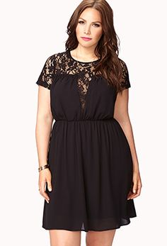 A chiffon dress featuring a plunging lace yoke . Cutout back with a self-tie closure. Round neckline. Short sleeves. Shirred elastic waist. Semi-sheer. Partially lined. Woven/knit. Lightweight.