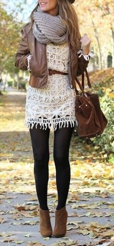 gorgeous white lace dress with brown leather details and oversized scarf. Perfect for autumn/fall