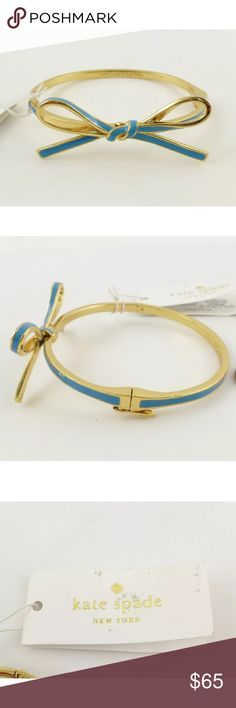 NWT Kate Spade skinny mini blue/gold bow bracelet So pretty! Opens and clasps to fit on your wrist. kate spade Jewelry Bracelets