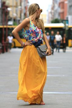 give me color. yellow skirt.