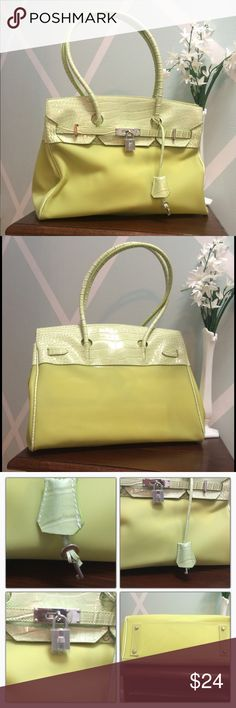 """NWOT- Lime Heavy Plastic Locking Satchel Beautiful Spring/Summer Color! Faux Leather Crocodile Prints trim and handles. Key hangs off of the lanyard to unlock and expand the bag. Very cute and unique. Dimensions 14""""across x 9"""" deep x 5"""" wide. Strap drop 8"""" Bags Satchels"""