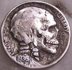 Hobo Nickels from the early 1900's. The Buffalo Head nickel was particularly popular because of its larger size and carving or engraving surface. Called a Hobo nickel becaus they were more likely to carry coins.
