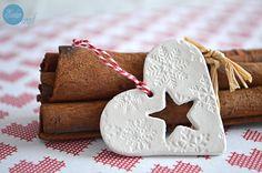 Christmas decoration clay small heart