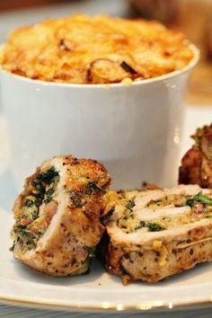 Parmesan-, spenat- och baconfylld fläskfilé med potatisbakelse