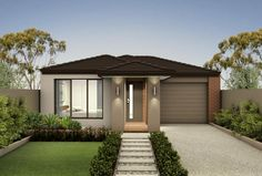 Find new home designs in VIC. Refine the search and discover the best house designs & floor plans for your dream home. Modern Bungalow Exterior, Modern Exterior Doors, Modern Bungalow House, Exterior Design, Minimal House Design, Modern Small House Design, Modern Front Yard, Front Yard Design, New Home Designs