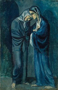 Pablo Picasso - Two Sisters (The Meeting) [1902]  Picasso painted this large work in the summer of 1902 in Barcelona. It is one of the most important items of his Blue Period, when the tragic mood of monochrome blue and bluish-green came to determine the whole structure of his paintings.