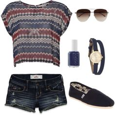 I love this summer outfit.  If only aviators looked right on my face and if only I could wear crop shirts, life would be so much simpler.