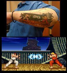 Tattoo gamer sobre o universo de Street Fighter