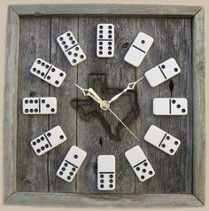 Upcycled Home Furnishings: Upcycled Game Clocks - Decorate with Rustic Looking Domino Clocks (GALLERY) - Living Wikii