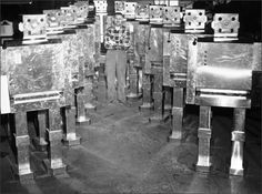 1950sunlimited:    Robots galore, 1961  Sheet metal man Robert Calloway stands in the center of 16 mechanical robots in Peoria, Ill., which he made for a promotion firm in 1961. The robots stand 6 feet tall and weigh fifty pounds. They have a built-in tape recorder and move their heads and arms when delivering a message. The cost of the sheet metal robot is around two hundred dollars.  The Belated Nerd
