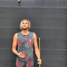 Mens clothing/fashion / casual muscle tank rose print / beach surf street boho style / Tevita clothing