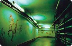 Helsinki, Finland Meilahden sairaalan tunnelin seiniin on maalattu hevosia. The tunnels of Meilahti hospital