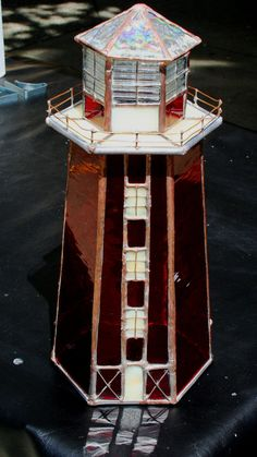 Stained Glass Lighthouse  Table Lamp by Glassquirks on Etsy