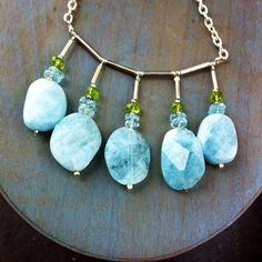 Aquamarine and Sterling Silver Necklace with FREE matching Earrings £139.00