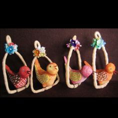 Bird Ornaments ~ DIY with clay & wire.