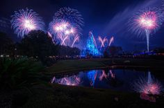 Almost Fantasy In The Sky Fireworks Disney Fun, Disney Magic, Disney Parks, Walt Disney World, Find Cheap Hotels, America Birthday, Cinderella Castle, New Year Celebration, Epcot