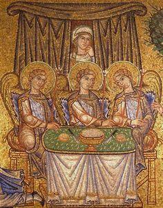 Gents Kurta Design, Abraham And Sarah, Trinidad, Byzantine Art, Roman History, Religious Icons, Medieval Art, Ancient Art, Gold