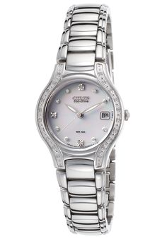 Citizen Women's Modena Diamond Silver-Tone SS White Dial - Watch EW0970-51B,    #Citizen,    #EW097051B,    #WatchesDressSolar