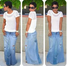 Mimi G Style: DIY Fashion Sewing: Search results for diy maxi Fashion Sewing, Denim Fashion, Fashion Outfits, Fashion Mode, Look Fashion, Womens Fashion, Fashion 2017, Casual Wear, Casual Outfits