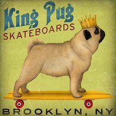 KING PUG Skateboards Longboards ILLUSTRATION Giclee Print 12x12 inches signed Pug Dog. $36.00, via Etsy.