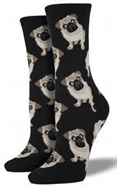 These precious pugs could be your new best friend, minus the snorting and slobbering. 63% cotton, 34% nylon, 3% spandex. Fits approximate women's shoe sizes 5–10.5.