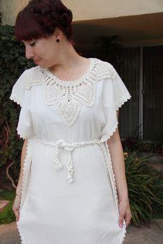 Vintage Boho White Maxi Dress 1970s Crochet Embroidered Lace Wedding Bohemian Hippie Festival Gauzy Summer Size Small Medium. $50.00, via Etsy.