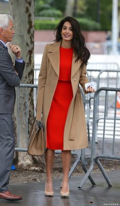 """Amal Clooney's Outfit Has Me Singing """"Lady in Red"""" at the Top of My Lungs - Amal Clooney Red Dress September 2018 Source by alia_haidar - Mode Outfits, Dress Outfits, Fashion Outfits, Red Dress Outfit Casual, Red Coat Outfit, Hijab Outfit, Classy Dress, Classy Outfits, Classy Chic"""