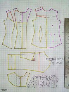 Fashion doll Western shirt pattern