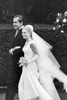 White house wedding.  I remember those princess veils.  Richard Nixon and daughter Patricia, 1971.