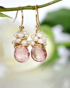 Mystique Pink Quartz silk White Freshwater Pearls by ChaninBijoux, $62.00