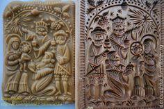"Nativity Scene: The pressed Springerle cookie on the left, the springerle mold on the right. Купить Пряничная доска ""Рождество"" - бежевый, пряники, пряничные доски, подарок, пожарок жене"