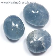 """Celestite has been called a """"Teacher for the New Age"""" and connects to the divine energy of angelic realms. These crystals can bring harmony and inner peace, and can be used with the Third Eye Chakra. Celestite can also be used to balance the Throat Chakra. Its ability to heighten divine intuition makes Celestite especially useful for a Reiki practice.  http://www.healingcrystals.com/Tumbled_Celestite_-_Hand_Polished__Madagascar__-_Tumbled_Stones.html Code HCPIN10 = 10% off"""