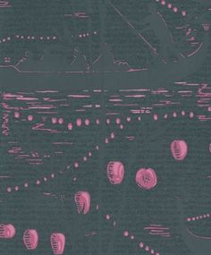 Gondola (89/8033) - Cole & Son Wallpapers - A stunning oriental design of shadowy boatmen in deepest petrol blue with fuchsia pink lanterns. Paste the wall. Difficult to see, do order a sample for colour match.