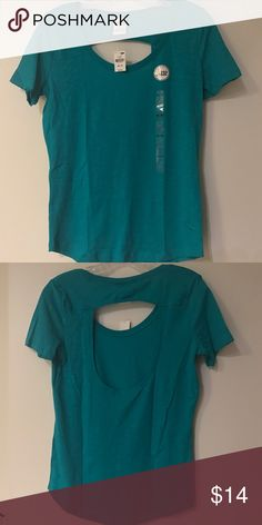 Victoria Secret Pink open back t-shirt Brand new, with tags Victoria Secret Pink open back t-shirt in turquoise (color is brighter than picture shows). PINK Victoria's Secret Tops Tees - Short Sleeve