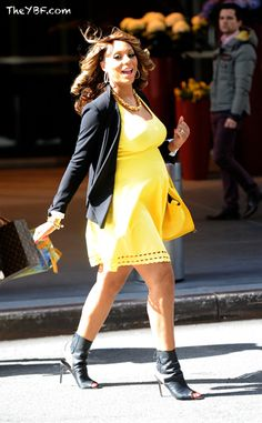 Very pregnant Tamar Braxton in Yellow dress in NYC