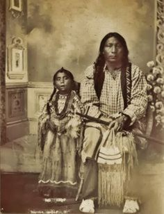 Arapaho Indians Picture - Black Wolf And His Daughter-1885