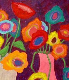 Modern Folk Art FLOWERS in Vases Original por johnblakefolkartist Canvas Art Projects, Diy Canvas Art, Folk Art Flowers, Flower Art, Original Paintings, Original Art, Owl Paintings, Indian Paintings, John Blake