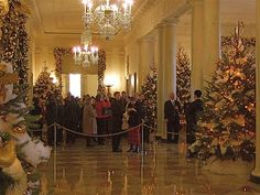 """n 2001, for example, Laura Bush chose a """"Home for the Holidays"""" theme, and artisans created decorations that represented historic houses in each state. Trees in other rooms, such as the blue room, are decorated with colorful and meaningful mementos as well."""