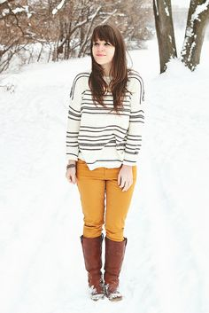 Discover this look wearing White Sweaters, Tawny Wanted Boots, Mustard Target Jeans - groundhog's day by selectivepotential styled for Casual, Everyday in the Winter Mustard Pants, Target Jeans, Yellow Pants, Forever 21 Sweater, Winter Wear, Playing Dress Up, Winter Outfits, Winter Fashion, Cute Outfits