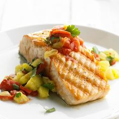 Grilled Salmon with Pineapple-Roasted Red Pepper Salsa