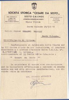 1951 Lettera Premio Cesare da Sesto, Sesto Calende