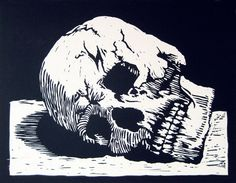 Skull - Linocut by Sean Lingwood